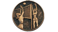 "Vintage Girls Volleyball 1-1/8"" Award Medal Pendant E7"