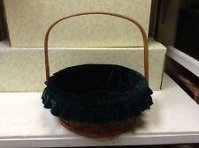 OVAL Woven Wicker Storage Organizer Gift Basket Green Velvet Liner LARGE 14x12