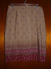 New Worthington Wrap Skirt Floral Burgundy Tan Size 12P
