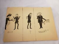 1905 Amiens, France ink drawing 'Man and Woman with Album' signed SVP