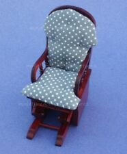 Miniature Dollhouse Mahogany Glider Rocker Chair 1:12 Scale New