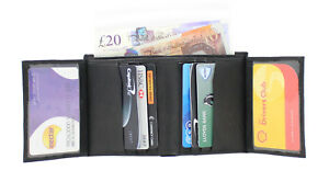 NEW RFID MENS SMART QUALITY BLACK LEATHER WALLET CREDIT CARD HOLDER  UK STOCK 87