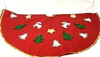 Vintage Felt Christmas Tree Skirt Sequins Handmade Bells Trees Deer Stars Ornate