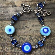"Women's Retro Beachy {Blue/Turquoise/Seahorse} Lampwork Bracelet - Size 7"""