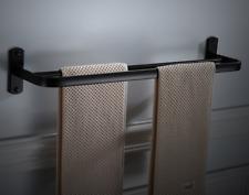 Black bathroom double towel rack space aluminum hanging towel bar European 59cm