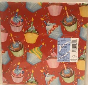 New Vintage Gift Wrap Paper Birthday Cupcakes Candles USA
