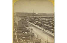 LIVESTOCK PENS   FACTORY BUILDING OUTDOOR PHOTO VINTAGE STEREOVIEW, CHICAGO, IL