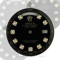 Custom  Black Genuine Diamond Dial 36mm  To Fit Quickset Model No.18038 ,18238