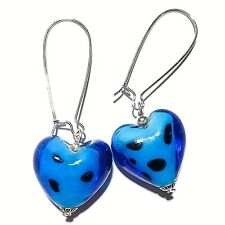 Blue Glass Heart Earrings Bead Drop Dangle Extra Long Kidney Wires Made in UK