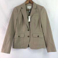 Banana Republic Womens Suit Jacket Blazer Beige Long Sleeve Button Stretch 6 New