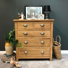 Oak Chest of Drawers / 5 Drawer Light Oak Chest Solid Wood 2 Over 3 / Harvard