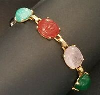 "Vintage Dainty 6 1/2"" SCARAB BRACELET Egyptian Revival Jewelry 12x10 mm Scarabs"