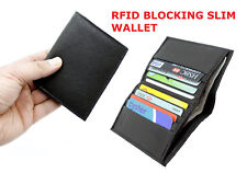 MENS RFID PROOF LEATHER ULTRA SLIM CREDIT CARD HOLDER NOTE CASE WALLET BLACK 122