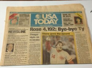 1985 USA TODAY PETE ROSE 'Bye - Bye Ty' Record Breaker Newspaper Sept 11, 1985