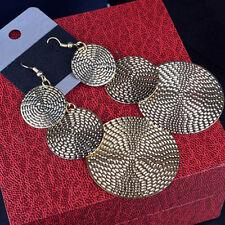1 pair gold Fashion Elegant Long Round Drop Ear Dangle Earrings Jewelry Gift