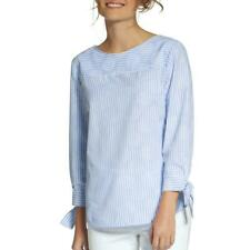 NEW ❤BASLER❤ WOMEN'S BLUE STRIPED TIE SLEEVES COTTON TOP US PLUS SZ 24 *MSRP$335