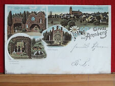 Farblitho - Gruss aus Arenberg - Koblenz - gel 1898 - Arme Seelen-Kapelle    m1