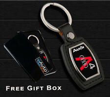 AUDI A4 KEYRING  METAL CHROME KEY RING FOB BLACK  PU LEATHER