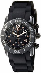 Swiss Legend Women's Black Ceramic Case & Rubber Strap Quartz Watch 10128-01-RA