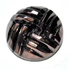 Bouton couture ancien en verre noir reflets marron cuivré 22mm button
