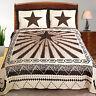 Western Texas Star Ray Horse Shoe Quilt Bedspread Comforter Shams 3 Piece Set