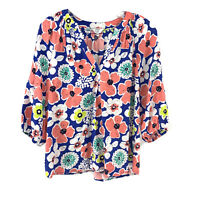 Crown & Ivy Blue Pink Floral 3/4 Sleeve V Neck Blouse Womens Small Petite PS