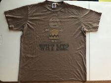 "Junk Food PEANUTS CHARLIE BROWN ""WHY ME"" T Shirt Size: Large Color: Brown Used"