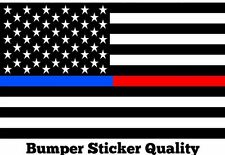 3- 3x5 Thin Blue Red Line Fire Fighter Police Officer Flag Respect Decal Sticker
