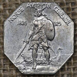 1925 UNC Norse American Centennial Silver Medal, Original Surfaces, Lustrous