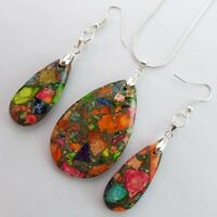 Rainbow Sea Sediment Jasper & Pyrite Teardrop Earrings & Necklace Set D2038