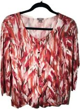 J.Jill Women's Pink Cream 3/4 Sleeve Linen Blend Button Up Cardigan Sweater  L