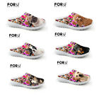 Womens Lady Slippers Shoes Summer Beach Air Mesh Shoes Slip On Moccasin Dogs Pug