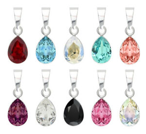 Sterling Silver Pendants made with 4320 Pear 10mm 14mm Swarovski® Crystals
