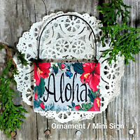DecoWords Mini * ALOHA Wood Ornament * Cubicle Office Tiny Sign Flair * Gift USA