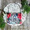 DecoWords Mini * ALOHA Wood Ornament * Cubicle Office Tiny Sign Flair * Gift USA