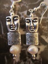Fresh Water Potatoe Pearl Abstract Face Handcrafted Artisan Earrings