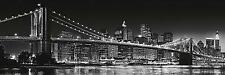 New York City Brooklyn Bridge Skyline Black & White Art Poster Print 62X21