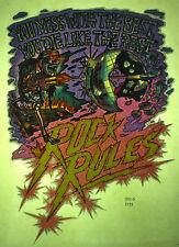 rock rules vintage retro tshirt transfer print, glitter, new, mirrorball, NOS