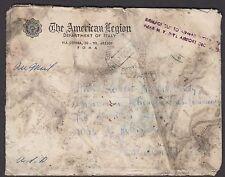 1954 Italy-U.S. crash cover American Legion Department of Italy corner card