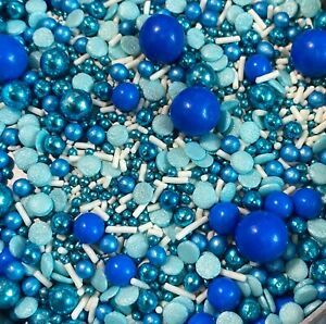'THE BLUES' MIX PEARLS SPRINKLES SUGAR BALLS CUPCAKE DECORATIONS BABY SHOWER BOY