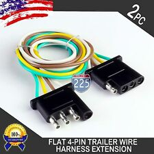 2pcs 2ft Trailer Light Wiring Harness Extension 4-Pin 18 AWG Flat Wire Connector