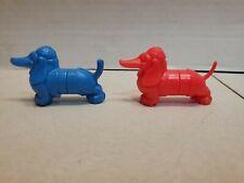 2) Vtg Dachshund Weiner Dog Dentist Oral B Toothbrush Childrens Plastic (B#66)