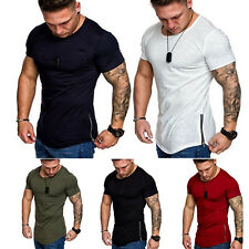 Mens Short Sleeve T Shirt Slim Fit Casual Blouse Tops Summer O Neck Muscle Tee