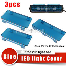 "20"" Inch Snap on Blue LED Light Bar Lens Covers Jeep Truck Offroad 120W VS 6"" 8"""