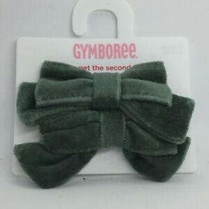 Gymboree Girls GREEN BOW RIBBON HAIR Barrette Set of  2 Velveteen Holiday  NWOT