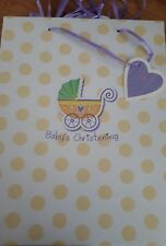 Baby's christening Gift present bag with gusset - folded in half to post
