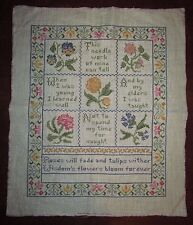 Vtg Antique Linen Embroidery Cross Stitch Handmade Victorian Sampler Poem Floral