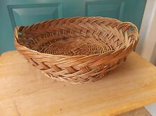 Short Vintage Round Woven Basket with Small Handles