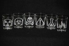 Mad Scientist Custom Etched Shot Glass Set of 6 Poison Fire Biohazard Radioactiv