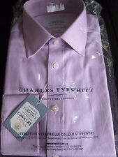 """Charles Tyrwhitt Classic fit Egyptian cotton cavalry twill pink shirt 15"""" RRP 50"""